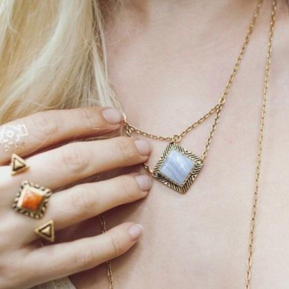 Jewelry - Blue Lace Agate Boho Necklace, NWT